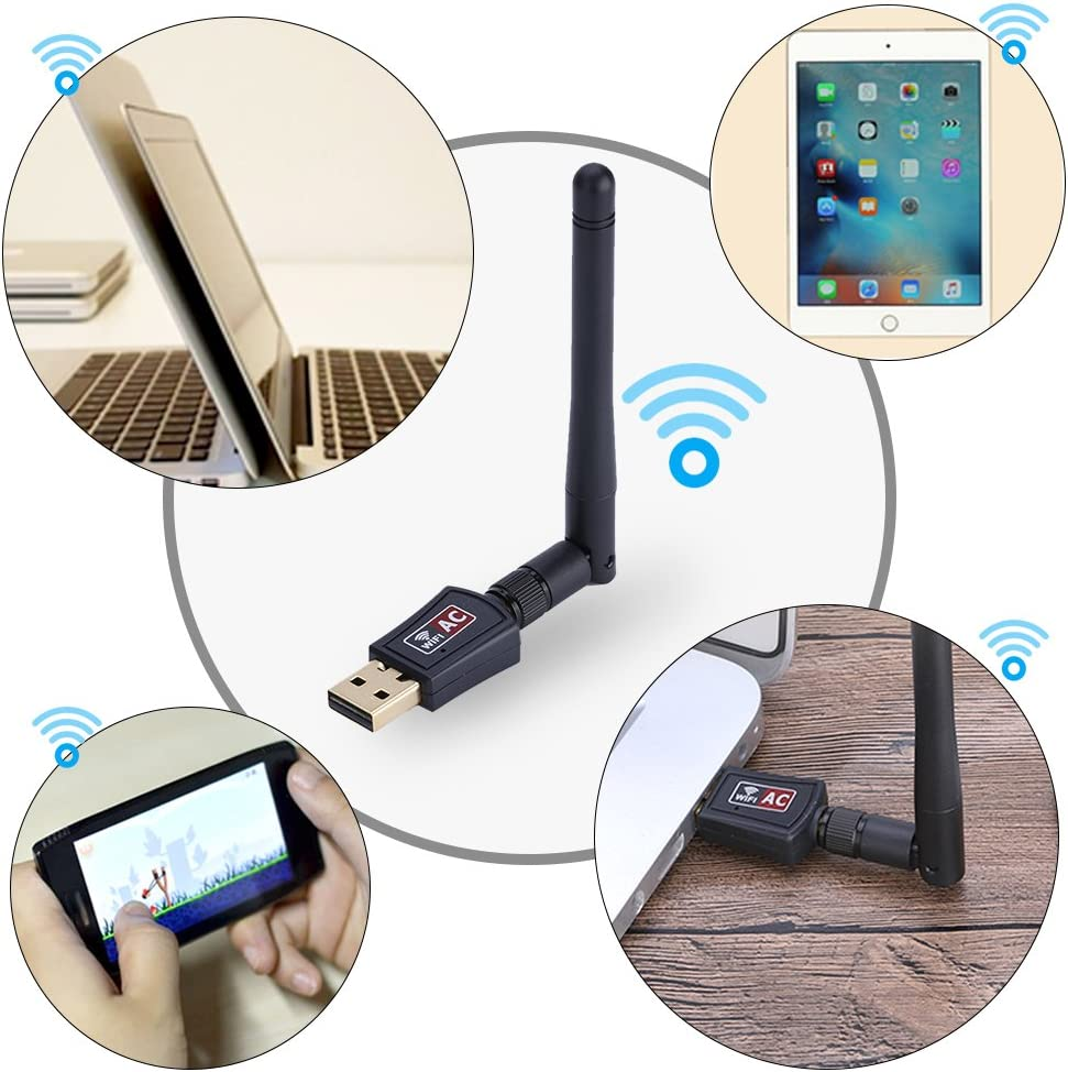 Tangxi USB WIFI Network Card Mini 600M External Dual-band 2.4G//5G WiFi USB Adapter Receiver Wireless Network Card with Antenna for Win XP//7//8//10 Linux Mac