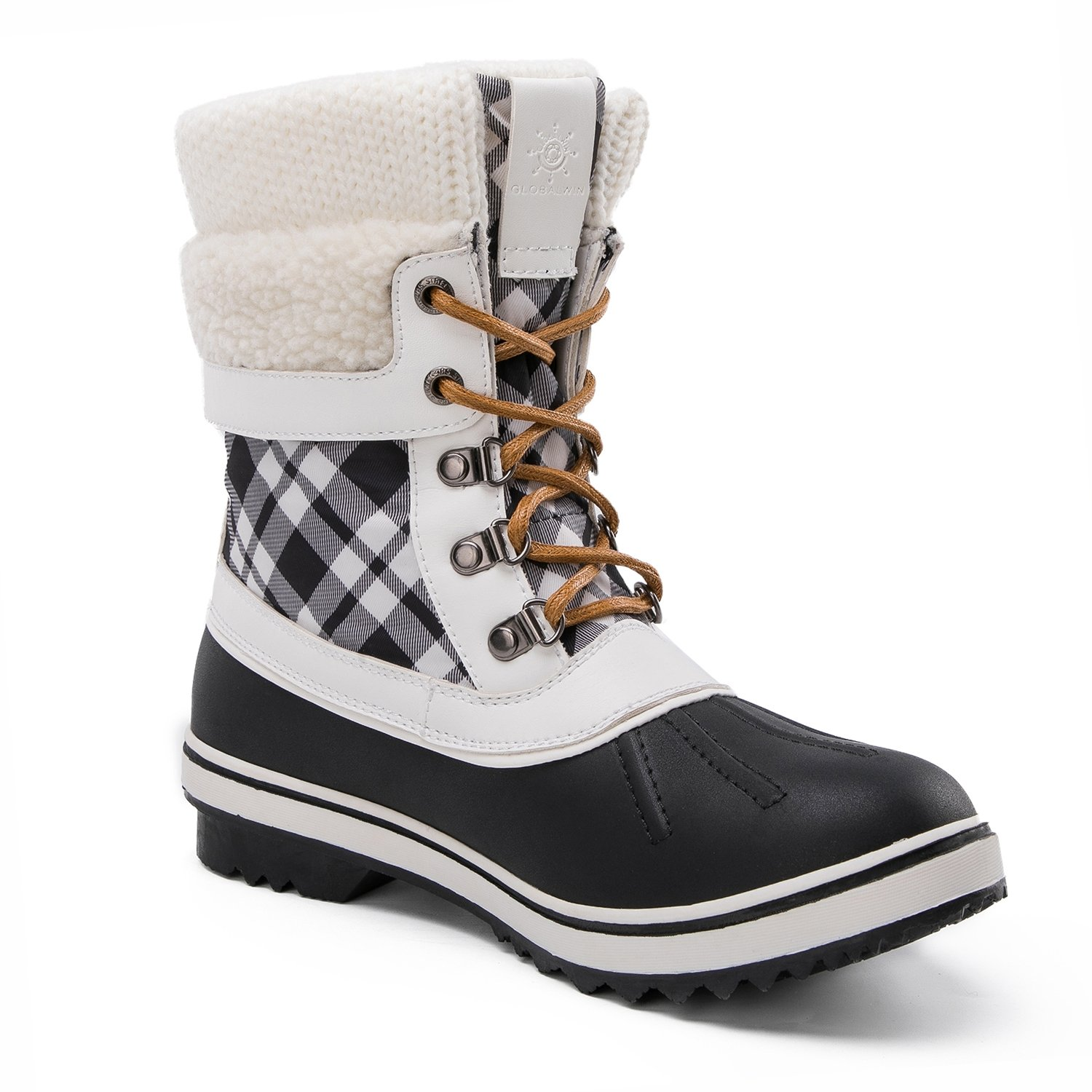 Global Win GLOBALWIN Women's Waterproof Winter Snow Boots B074G5H8V5 7 M US|Black/White