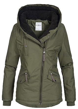 b214c5d44d5da Seventyseven Lifestyle Damen Winter Jacke Kapuze Teddyfell innen Parka 5 Taschen  Oliv grün, Gr: