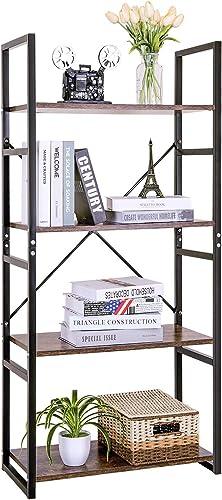Llivekit Bookshelf Vintage 4-Tier Bookcase Wood Display Shelf Units Storage Organizer for Home Office 4 Tier