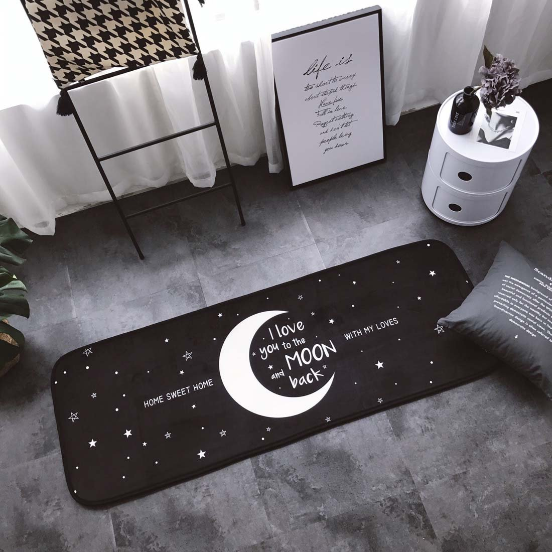 Home and Kitchen Rugs Door Mat Moon Sweet Home Non Slip/Skip Runner Decorative Entrance Floor Carpet for Bathroom Bedroom-I Love You To The Moon And Back