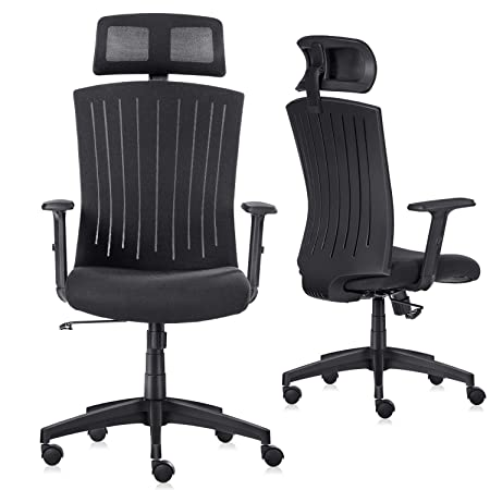 Ergonomic Office Chair Komene Computer Desk Chairs with Adjustable Headrest,Armrests, Seat Height, Reclines Thick Seat Cushion High Back With Breathable Mesh Swivel Executive Task Chair Black