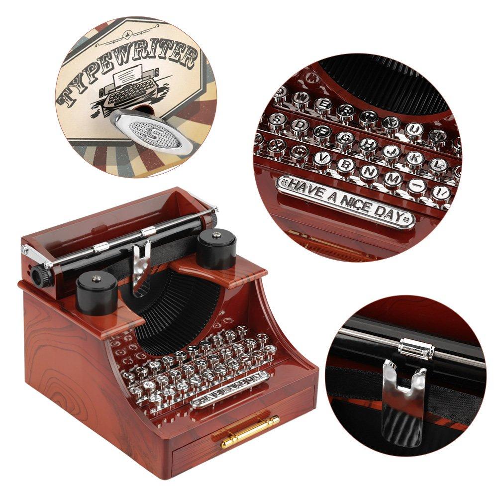 Mini Vintage Style Máquina de Escribir Clockwork Music Box Juguetes Retro Creativos Decoración de Mesa de Regalo: Amazon.es: Hogar