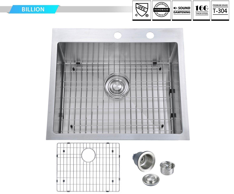 BILLION 25''x22''x10'' Inch Drop-in Overmount 16 Gauge Handmade Single Bowl Stainless Steel Kitchen Sink, Round Corners Topmount Sink With Drainer & Bottom Grid by Billion (Image #7)