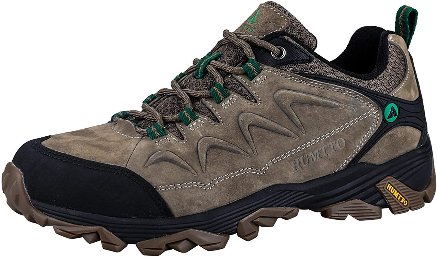 HUMTTO Mens Non-Slip Breathable Outdoor Low-Top Leather Lightweight Trekking Hiking Shoe