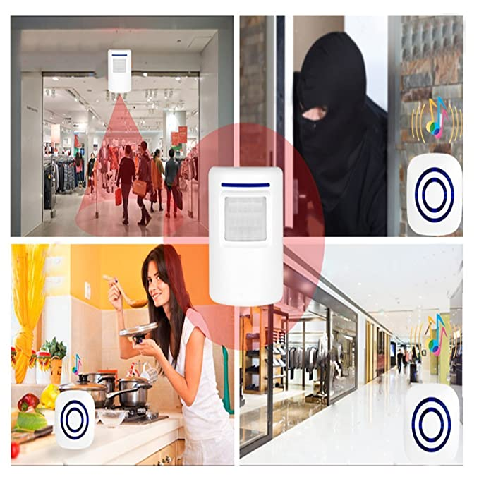 TOOGOO Detector sensor de movimiento de puerta de negocios inalambrico Alarma de entrada de seguridad de casa con 1 receptor enchufable y 1 detector ...