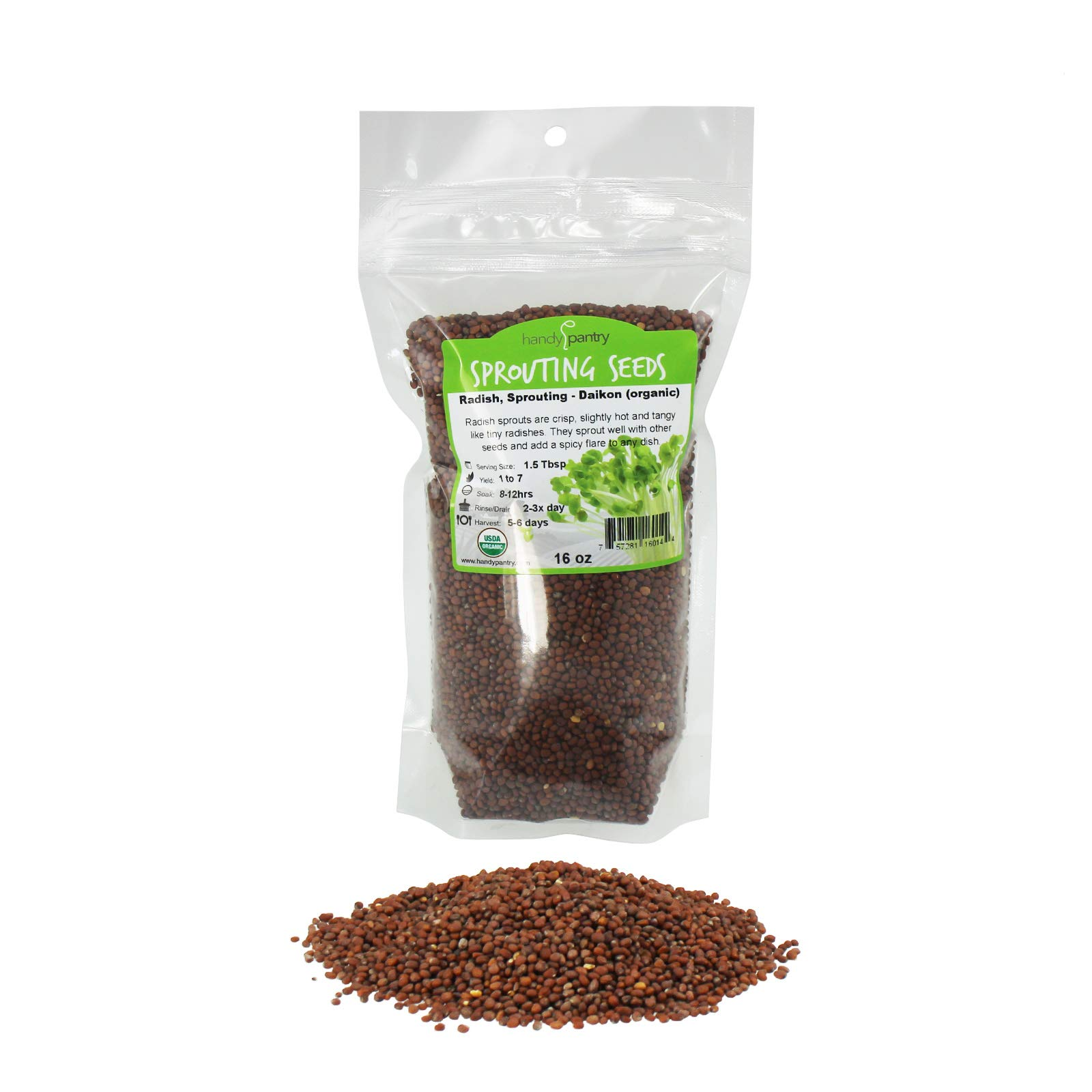 Organic Radish Sprouting Seeds | 1 Pound Non-GMO Daikon Radish Seeds by Handy Pantry