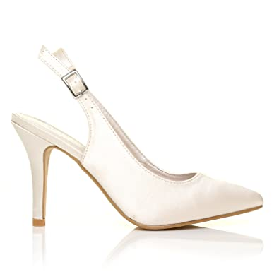 97639a2296d FAITH Ivory Satin Stiletto High Heel Slingback Bridal Court Shoes   Amazon.co.uk  Shoes   Bags