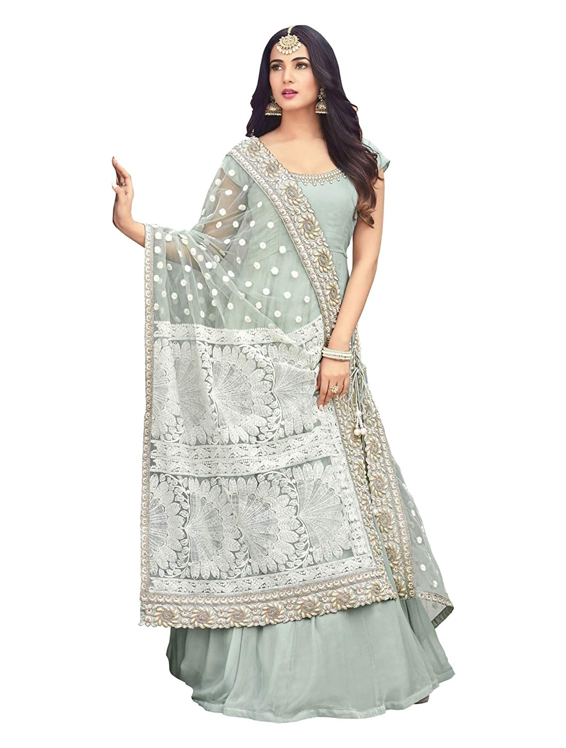64d3ceef67fc GLAMIFY Women's Faux Georgette Semi-Stitched Anarkali Suit (GF-SRI-RT_1252,  Grey, 44): Amazon.in: Clothing & Accessories