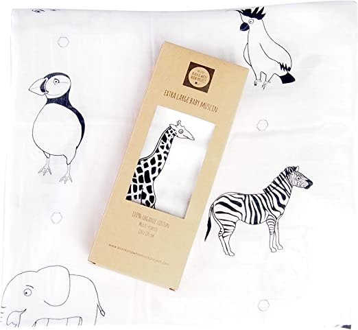 Manta de muselina para bebé extragrande, 100% algodón orgánico, color blanco y negro con diseño de animales de alto contraste: Amazon.es: Hogar