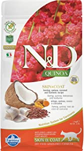 Farmina N&D Functional Quinoa Skin & Coat Herring Coconut and Turmeric Dry Cat Food 3.3 Pounds