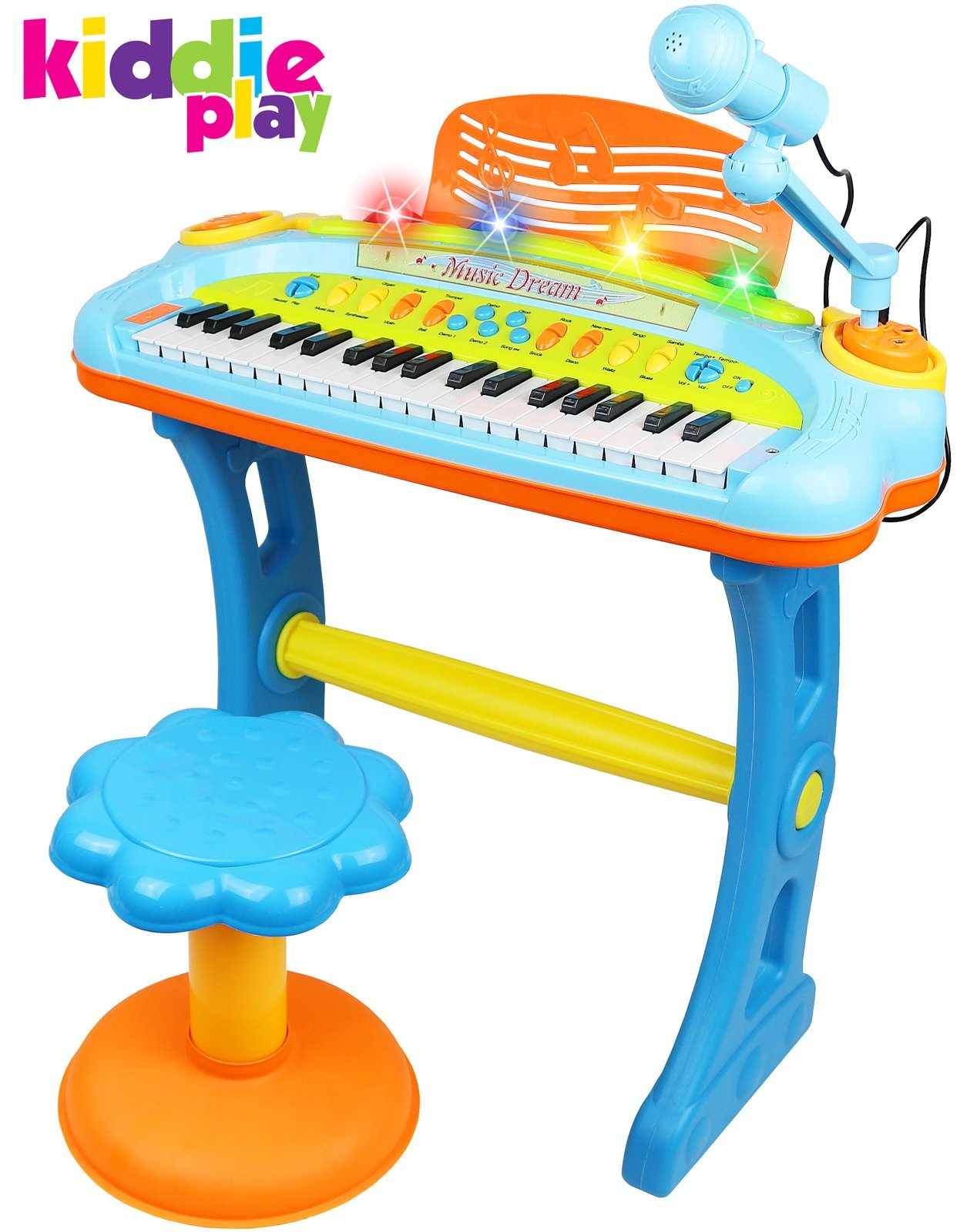 Kiddie Play Electronic 37-Key Toy Piano Keyboard for Kids with Real Working Microphone, Colorful Lights and Stool (with USB Adapter) by Kiddie Play