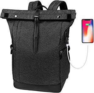 Laptop Backpack, Water Resistant College School Computer Bag for Men and Women with USB Charging Port, Anti Theft Travel Business Backpack Fits 15.6 Inch Laptop & Notebook, Black