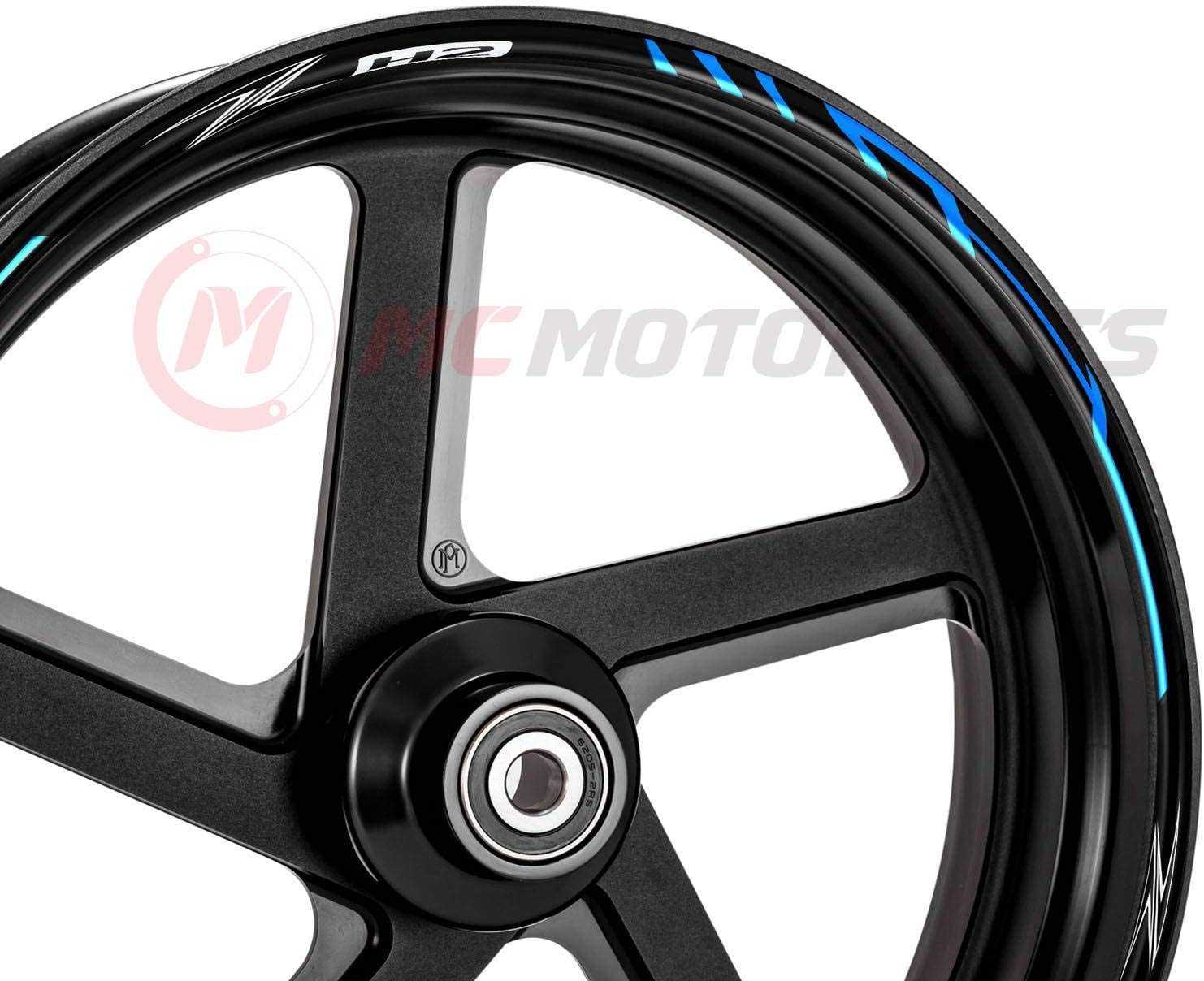 MC Motoparts 17 Wheel Stripes Rim Stickers 10mm Edge Tape DIY For Kawasaki Z H2 Aqua Blue