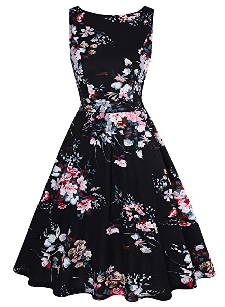 36993987878 MISSJOY Womens Vintage 1950 s Sleeveless Floral Rockabilly Garden Party  Dress (Blackpinkflower