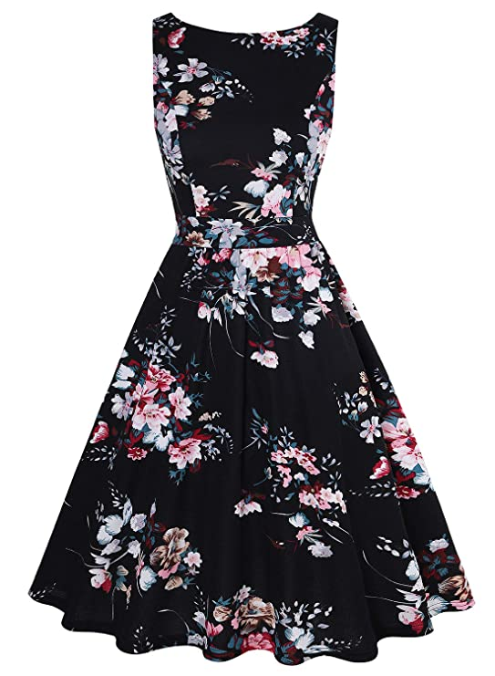 68bbe0812970e MISSJOY Womens Vintage 1950 s Sleeveless Floral Rockabilly Garden Party  Dress  Amazon.ca  Clothing   Accessories