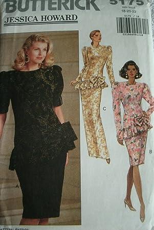 Schnittmuster Fallenlassen Taille Abend Kleid Gr. 18–20–22 Butterick ...