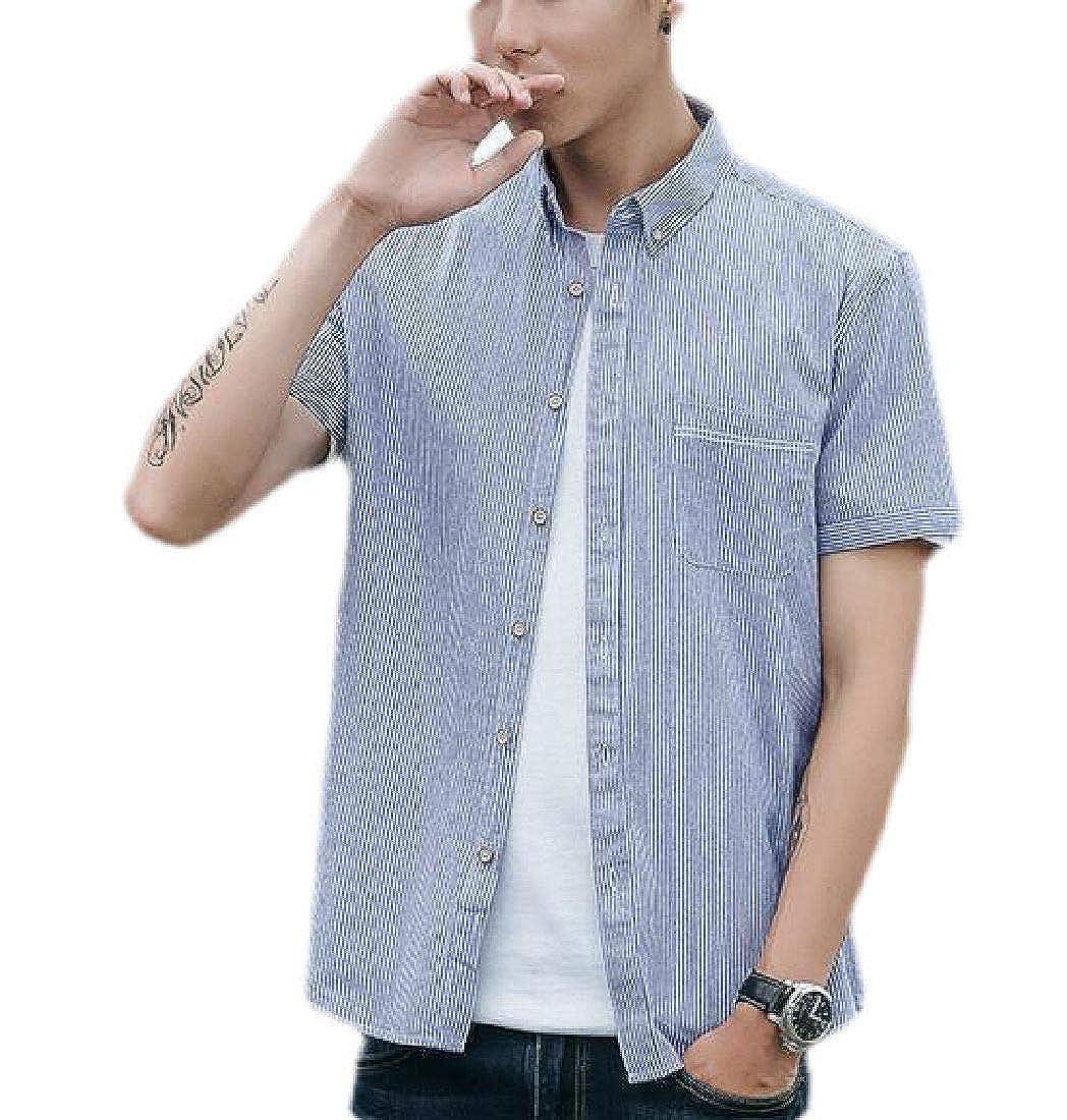 SELX Men Pockets Casual Stripe Short Sleeve Button Front Shirt
