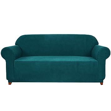 subrtex 1 Pieza Funda de Sofá Poliéster Elástica Cubierta de Asiento Forro de Sofá Doméstico (3Plazas, Azul Verde)