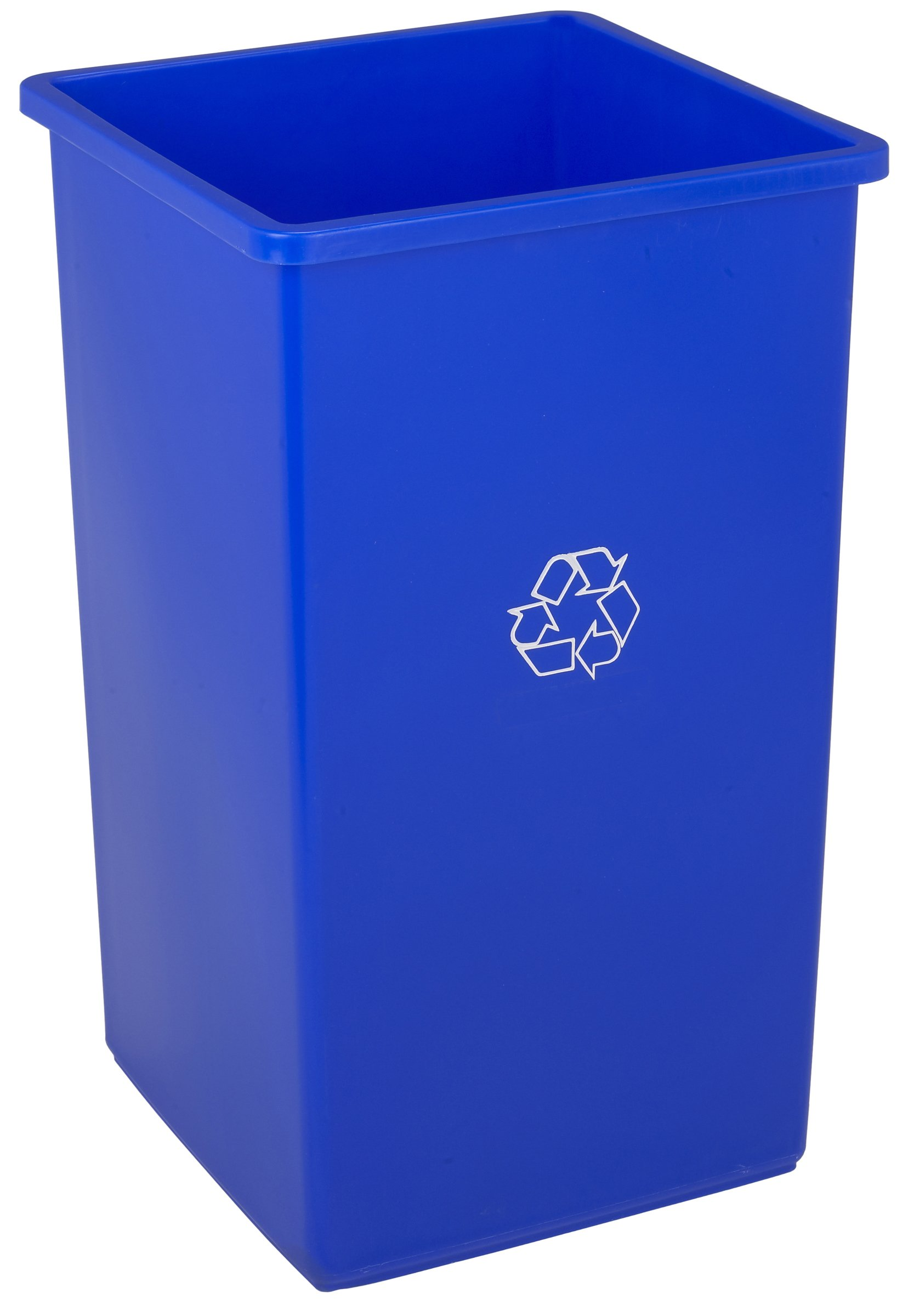 Continental 32-1 32-Gallon Swingline Receptacle with Recycle Imprint, Square, Blue