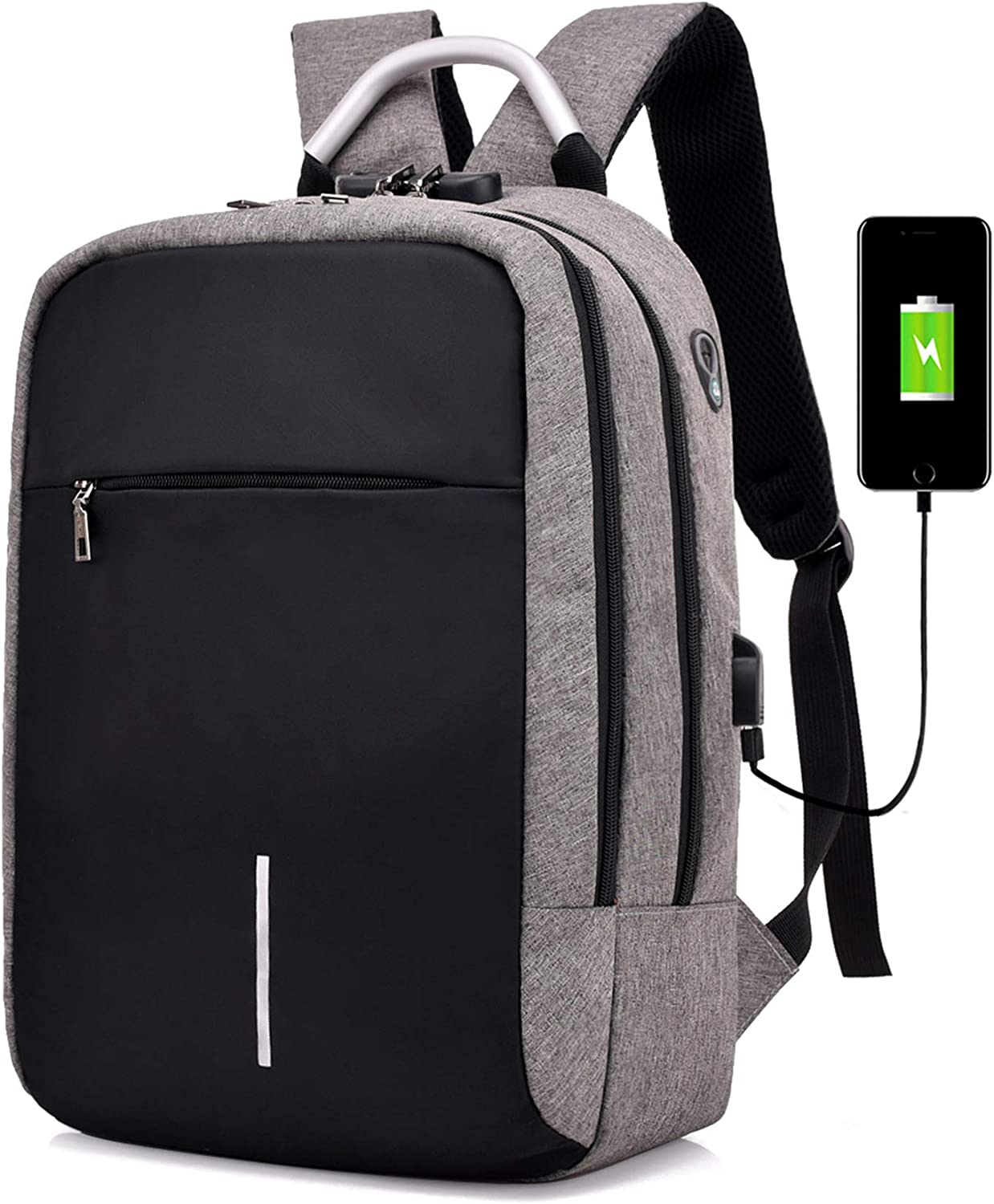 Laptop Backpack, Travel Backpack with USB Charging Port and Earphone Plug, Anti-Theft Password Lock, Business Backpack for Male and Female,College Student Computer Backpack for 15.6'Laptop