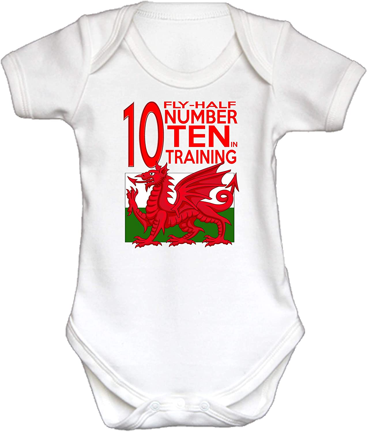 Gift Baby Grow Sleep Suit One Piece Short Sleeve. KAZMUGZ Welsh Rugby White Baby Grow Number 10 Fly Half in Training