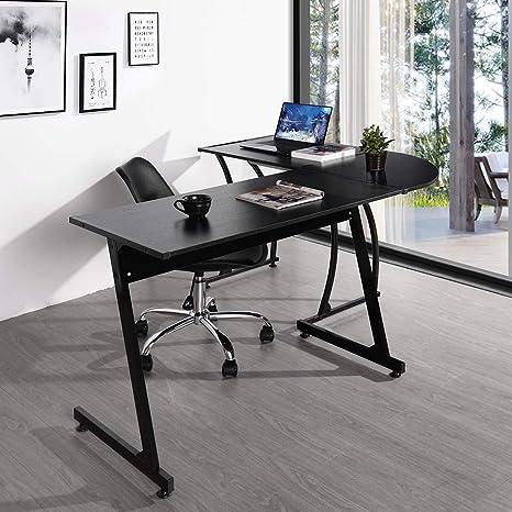 Yata Home Computer-Desk Office Desk L-Shaped Wood Corner Desk Computer Workstation Large Corner PC Gaming Table Study Desk Home Office Beige with wood