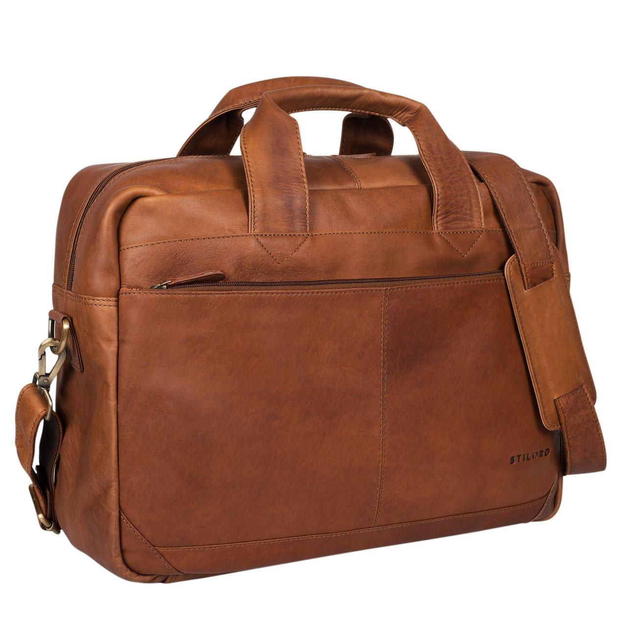 STILORD 'Amadeus' Borsa Lavoro a tracolla XL pelle vintage da uomo donna Grande portadocumenti borsa porta PC 15.6 pollici ventiquattrore in vero cuoio, Colore:cognac marrone scuro