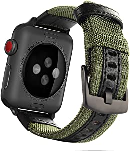 Maxjoy Compatible with Apple Watch Band, 38mm 40mm Nylon Strap Replacement Bands with Metal Clasp Compatible with Apple iWatch Series SE 6 5 4 3 2 1 Sport & Edition, Army Green