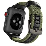 Maxjoy Compatible with Apple Watch Band, 42mm 44mm Nylon Strap Replacement Bands with Metal Clasp Compatible with Apple iWatc