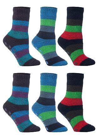 e9e4e0e8b15b3 HEAT HOLDERS - 6 paires enfants garçons fille thermiques chaudes  antiderapante chaussettes (27-30