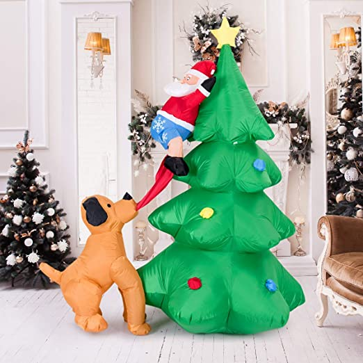 COSTWAY LED Hinchable Papá Noel Perro y Arbol de Navidad ...