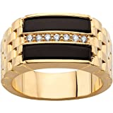 Men's Genuine Black Onyx and CZ 14k Gold-Plated Buff Top Ring