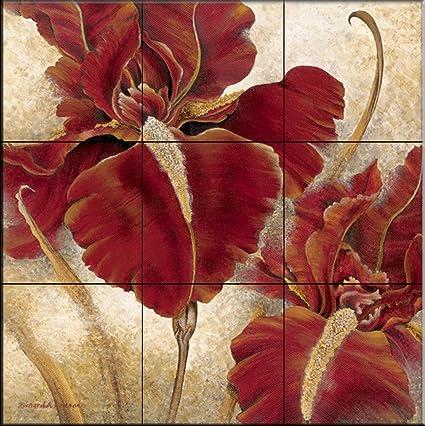 Ceramic Tile Mural - Red Iris - by Richard Henson - Kitchen  backsplash/Bathroom shower
