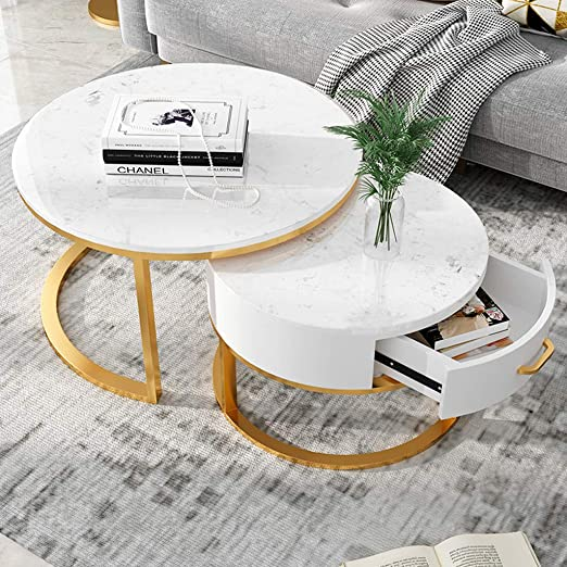 Juego de 2 mesas Redondas para Sala de Estar Mesas Nido Mesa de Centro apilable de mármol con Marco metálico para Almacenamiento de cajones, 80 cm x 45 cm / 60 cm