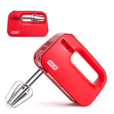 Dash SHM01DSRD Smart Store Compact Hand Mixer Electric for for Whipping + Mixing Cookies, Brownies, Cakes, Dough, Batters, Meringues & More, 3 Speed, Red
