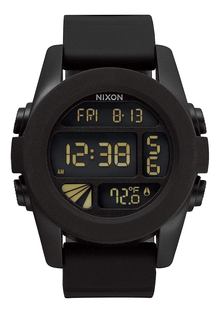 NIXON Unit A197 - Black - 100m Water Resistant Men's Digital Sport Watch (44mm Watch Face, 24mm Pu/Rubber/Silicone Band) by NIXON