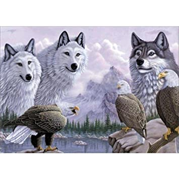 Usstore 5D DIY Animal Scenery Painting Diamond Embroidery Rhinestone Diamond painting Cross Crafts Stitch Home Room Decor Decoration Cross Stitch Art Mural L