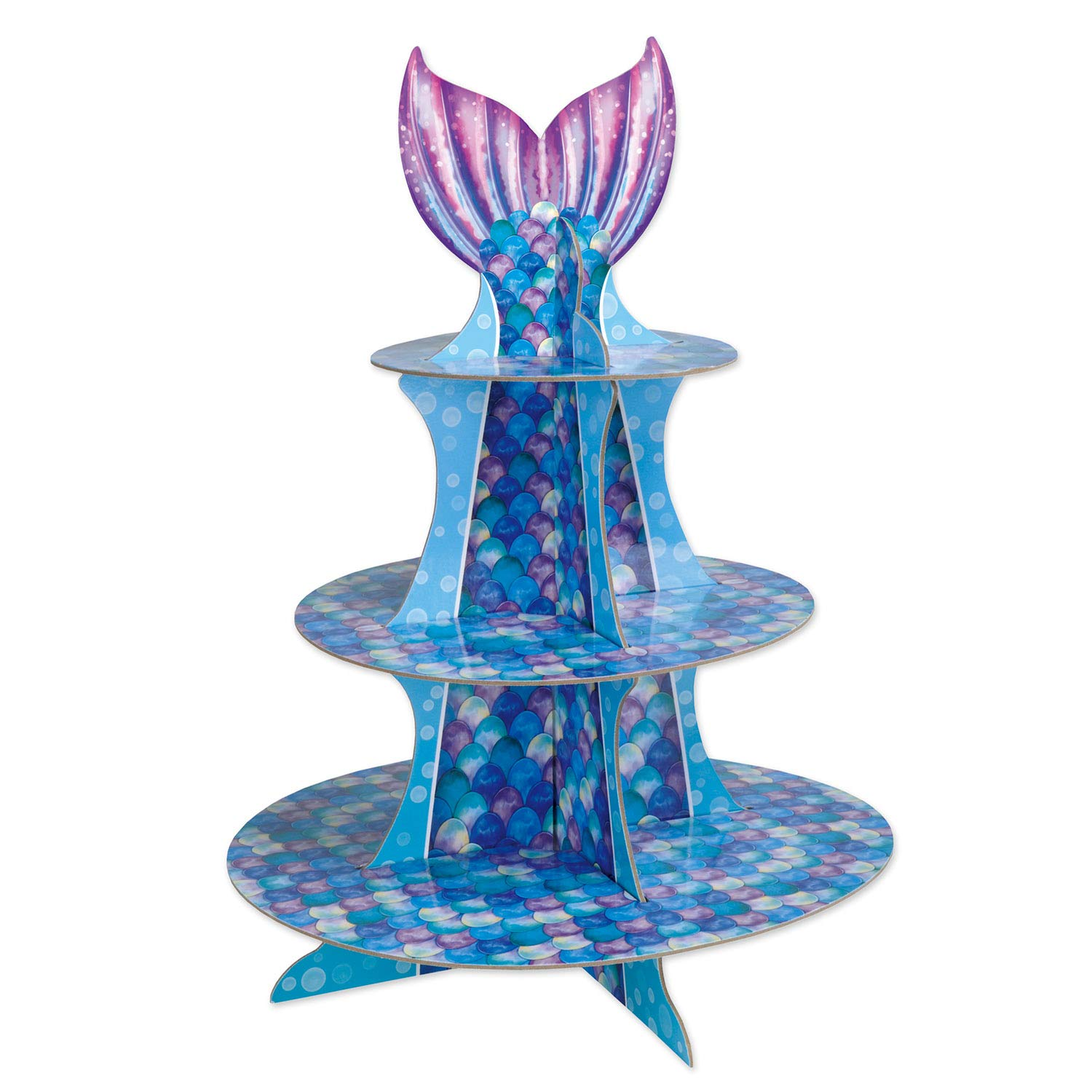 16 Inches Tall 3-Tier Cardboard Mermaid Cupcake & Dessert Stand Server | Ideal for Mermaid Themed Party Server, Tableware & Decorations