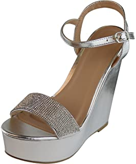 6021840b6 Cambridge Select Women s Crystal Rhinestone Ankle Strappy Platform Wedge  Dress Sandal