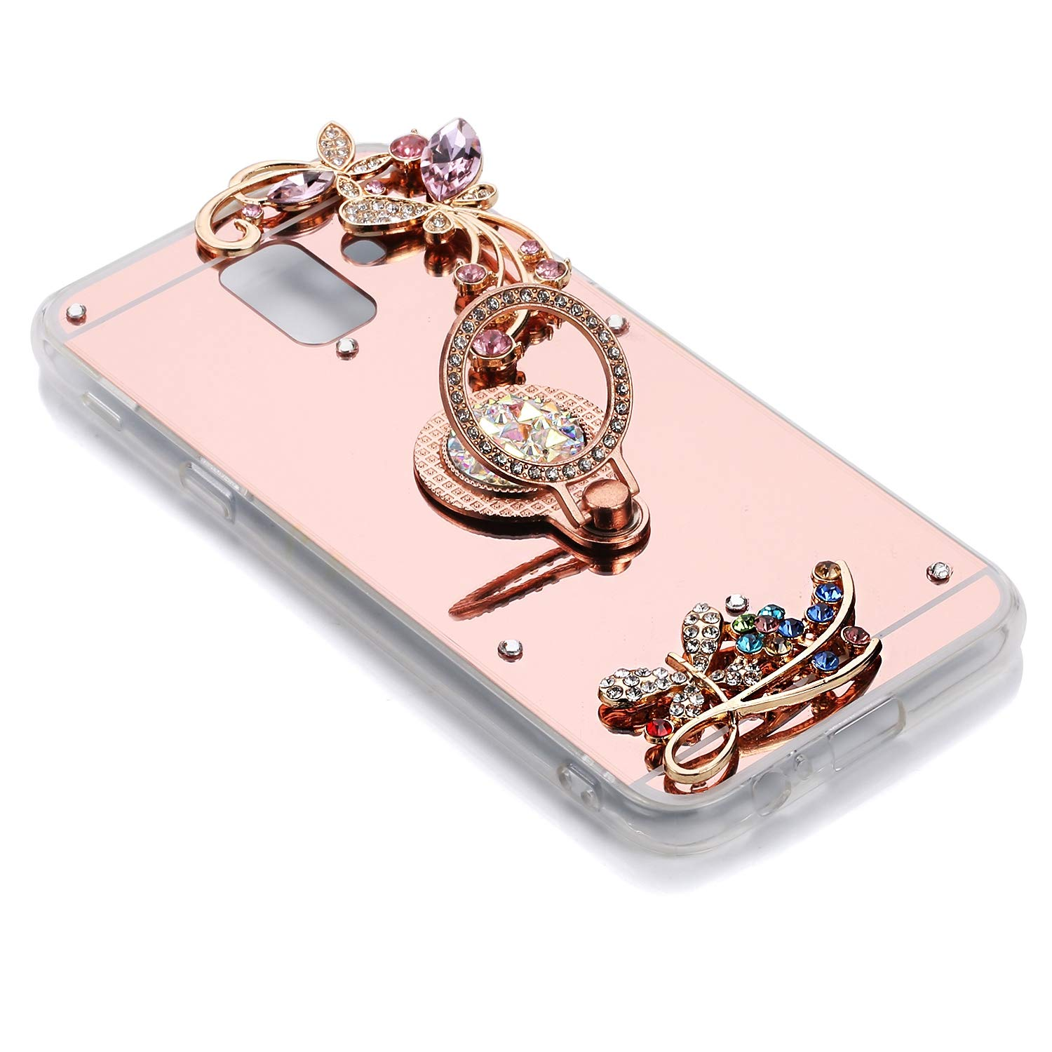 Herbests Cover Case Compatibile con Samsung Galaxy A6 2018 Mirror Custodia Silicone Diamante Glitter Bling Cover con Supporto Anello Custodia Flessibile Gomma Morbida Silicone Case,Oro Rosa