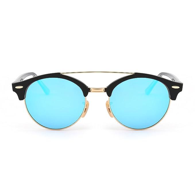 JIM HALO Gafas de Sol Polarizadas Espejo Clubround Redondas Semi Sin Marco Anteojos Hombre Mujer(