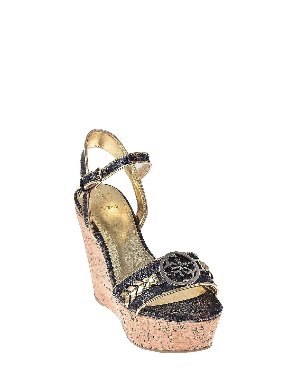 Dettagli su Guess Scarpe Sandali Donna con Zeppa Marrone