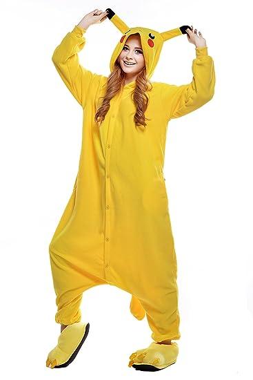 Newcosplay Unisex Pikachu Pyjamas Kigurumi Halloween Onesie Costume (L)