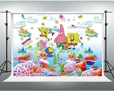 10x7ft Spongebob Backdrop Cartoon Animated Colorful ...