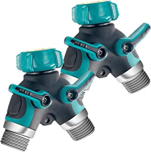 """Riemex Metal Garden Hose Splitter Upgraded 2020, 2 Way Y Hose Connector, Easy Grip Splitter, Sturdy Connector with 3/4""""Connector and Rubberized Grip for Garden, 2 Pack"""