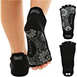 Ellaste Yoga Socks – Open Toe Non Slip Anti Skid Grip Sock for Yoga Pilates Barre – for Women Girl