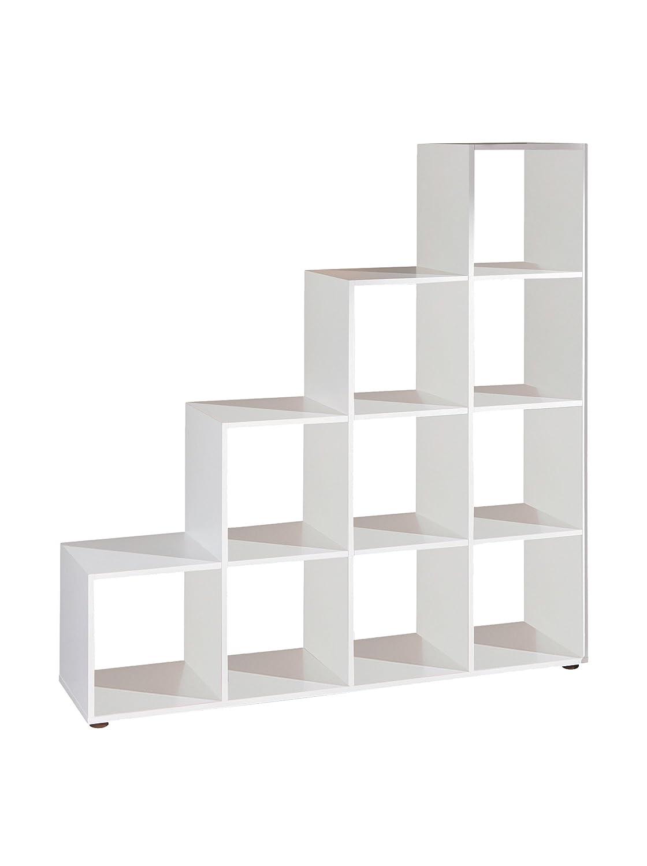 Links 13500210 CabotoEtagère Séparateur de pièce 10 cases Blanc 138 -5 x 33 x 143 -5 cm