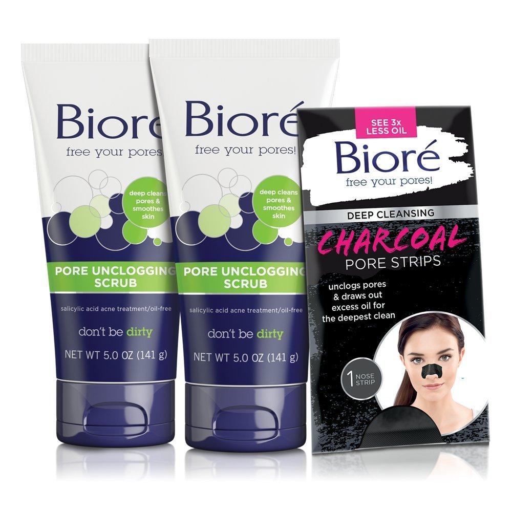 Bioré 2-PACK Pore Unclogging Scrub (5 oz) + Bioré Deep Cleansing Charcoal Pore Strip for Nose by Bioré