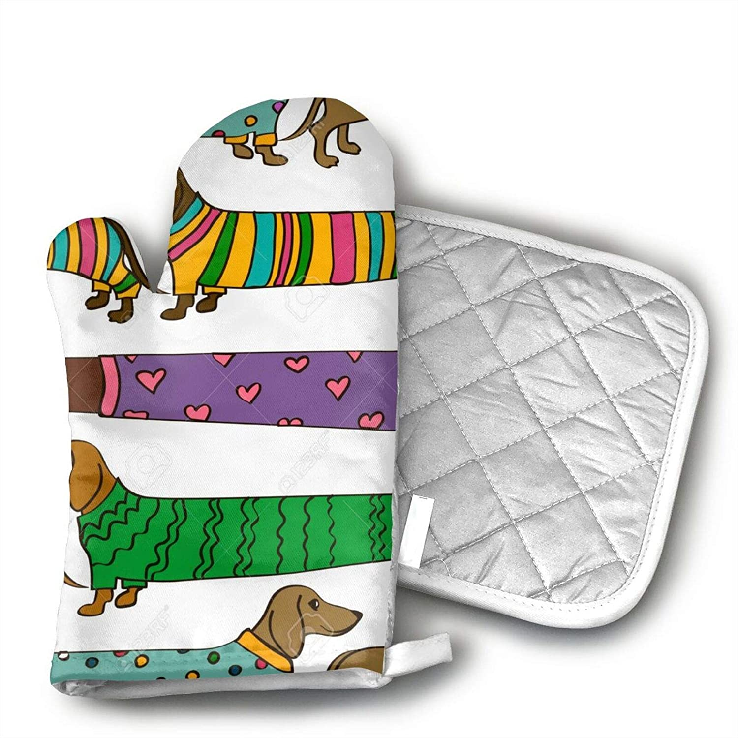 Funny Cartoon Long Dachshund Dogs Oven Mitts and Pot Holders; Non-Slip Heat Resistant Polyester with Gloves and Polyester Cotton Pot Mats